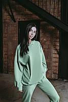 Женский стильный однотонный спортивный костюм с капюшоном (Норма и батал), фото 7