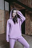 Женский стильный однотонный спортивный костюм с капюшоном (Норма и батал), фото 8
