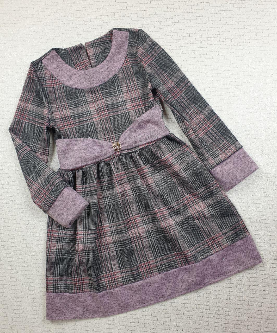 Платье  в клеточку на девочку 116,122,128,134 см фиалковый +серый 128