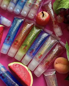 Блиск для губ фруктовий з блесточкамі