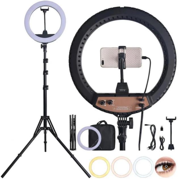 Кільцева LED лампа світлодіодна для телефону, фотозйомки для селфи з Bluetooth пультом для блогера 34см