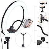 Кільцева LED лампа світлодіодна для телефону, фотозйомки для селфи з Bluetooth пультом для блогера 34см, фото 6
