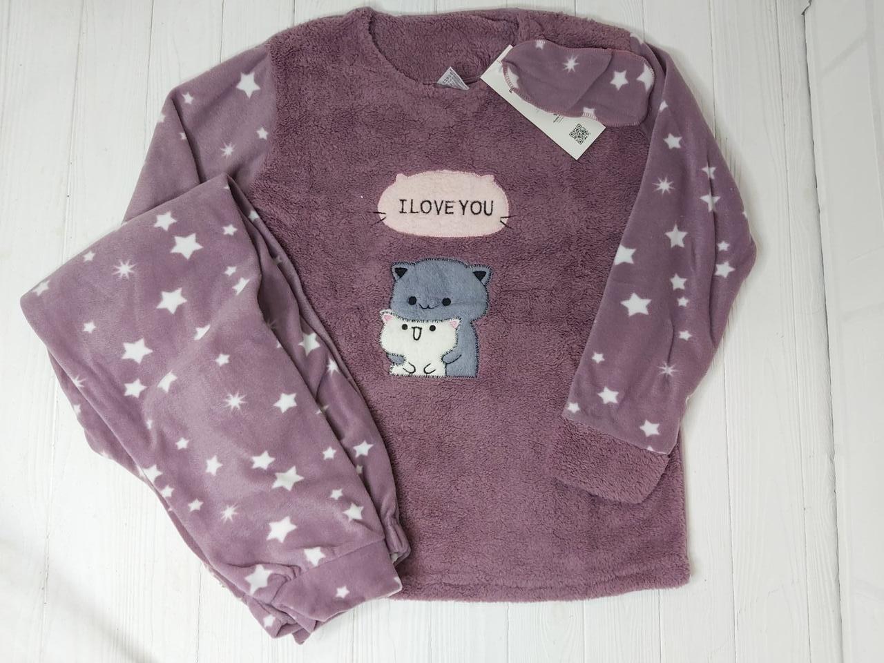 Женская  теплая пижама с повязкой  Sweet cat