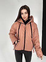 Женская куртка из эко кожи с капюшоном