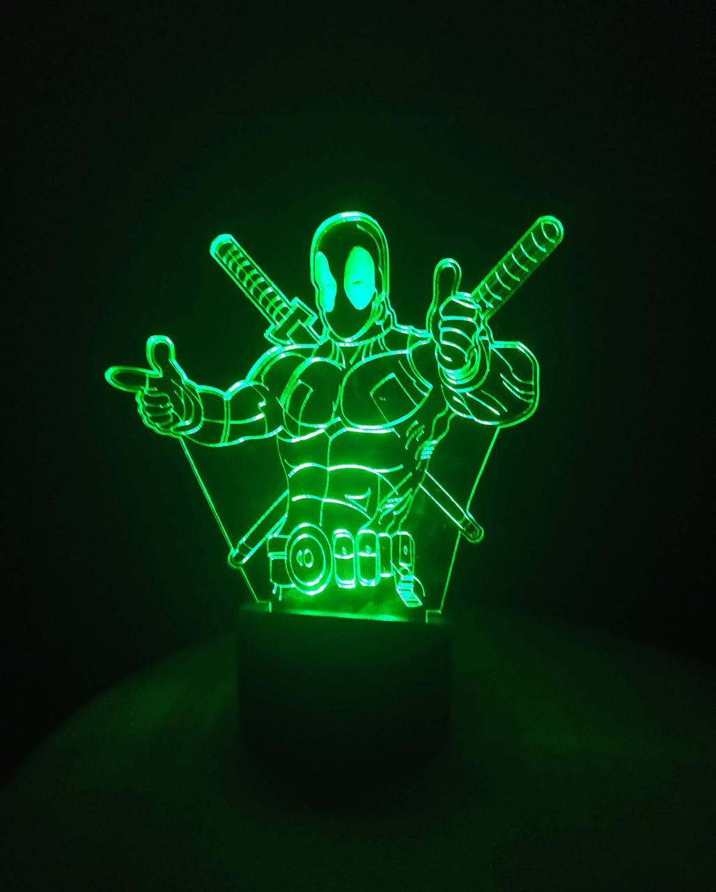 3d-светильник Дэдпул, 3д-ночник, несколько подсветок (на батарейке)