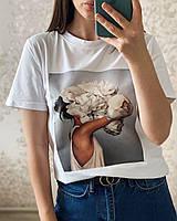 Женская базовая белая футболка с принтом (рисунок пришит, 42, 44, 46,48, 50, 52, 54, 56), фото 1