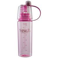 Пляшка для води NewB 600 мл з розпилювачем, пляшечка спортивна Рожевий