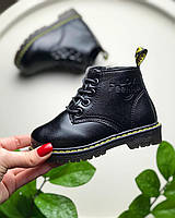 Ботинки весенние детские черные кожаные Мартинсы