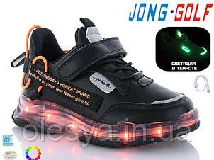 Кроссовки детские с подсветкой подошвы JongGolf 10228 с кабелем Usb размеры 31 32