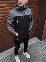 Мужская короткая куртка из SoftShell демисезонная с карманами для активного отдыха осень весна серая