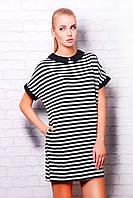 Свободное платье в полоску из двунитки (отделка джинс), фото 1