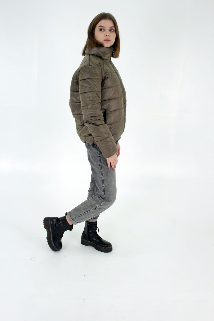 Стильна молодіжна дута куртка для дівчат на весну і осінь з капюшоном і коміром стійкою, Бронзова.