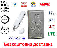 Полный комплект 4G/LTE/3G WiFi Роутер ZTE MF79u + MiMo антенной 2×17 dbi Киевстар, Vodafone, Lifecell
