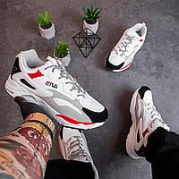 Кроссовки в стиле Fila Ray Tacer белые с серым