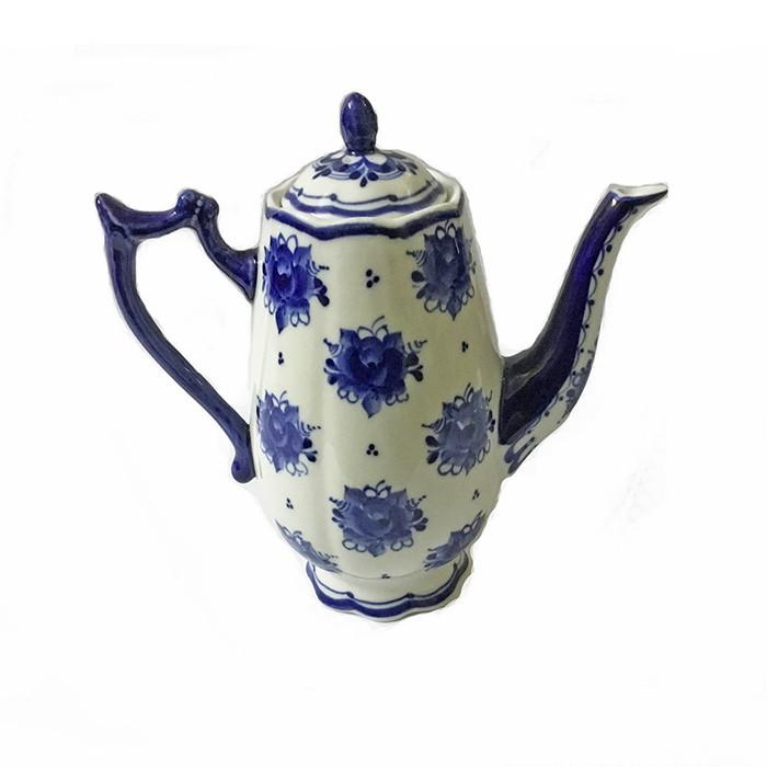 Кофейник из керамики роспись в стиле гжель Тюльпан