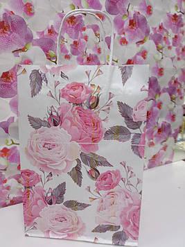Подарунковий пакет паперовий жіночий з малюнком квіти на свято  25 на 37 см