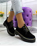 Черные туфли, броги из натуральной замши, фото 6