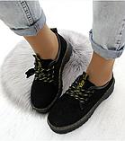 Черные туфли, броги из натуральной замши, фото 5