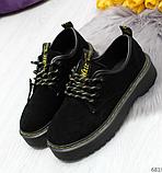 Черные туфли, броги из натуральной замши, фото 2