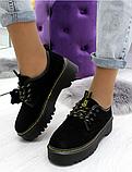 Черные туфли, броги из натуральной замши, фото 4