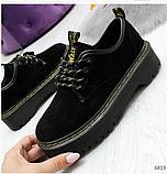Черные туфли, броги из натуральной замши, фото 7