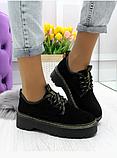 Черные туфли, броги из натуральной замши, фото 3