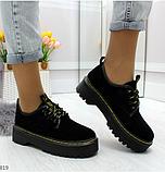 Черные туфли, броги из натуральной замши, фото 8