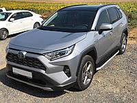 Toyota Rav 4 2019+ Боковые пороги Tayga Grey (2 шт., алюминий)