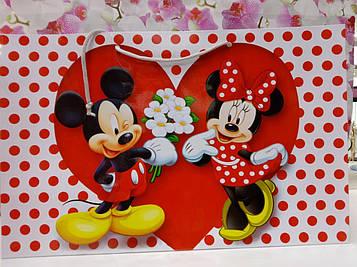 Подарунковий Пакет з малюнком Міккі Маус з серцем 25 на 36 см