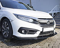 Honda Civic Sedan X 2016↗ гг. Накладка на передний бампер ЛИП (черная)