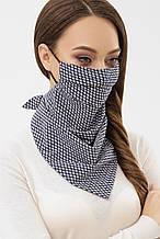 Женская маска платок синего цвета в ромбики на резинке