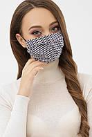 Женская маска синего цвета с узором на резинке
