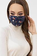 Женская синяя текстильная  маска с цветочным принтом