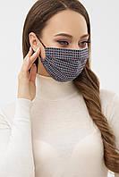Женская текстильная  маска красно-синего цвета в ромбы