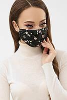 Женская черная текстильная  маска с цветочным принтом