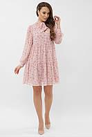 Пудровое шифоновое женское платье с цветочным принтом платье Мара д/р