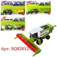 Транспорт SQ82012-2 металл, 17см, сельхозтехника, 4вида, на листе, 22-13-4см