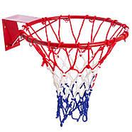 Сетка баскетбольная SPALDING (полиэстер, 12 петель, цвет бело-красно-синий, в компл. 1шт, вес 220гр), фото 3