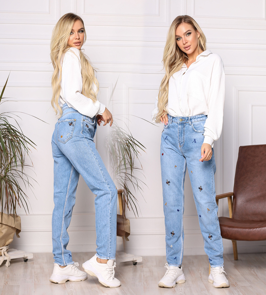 """Стильные женские джинсы МОМ с вышивкой """"1300"""""""