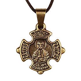Крест нательный криновидный Валентин Святой мученик Валентин Доростольский Металл медненный 3х2х0,2 см (19605)