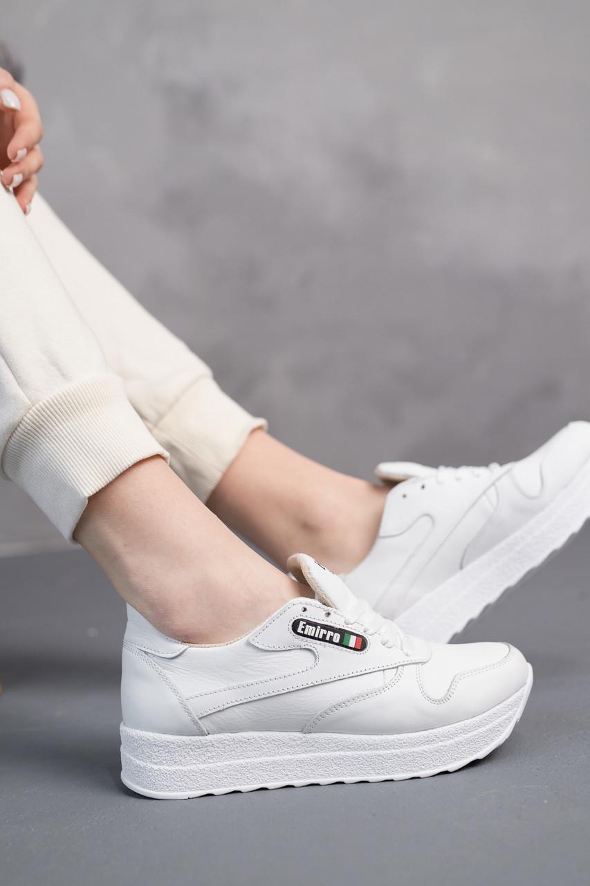 Женские кроссовки кожаные весна/осень белые Emirro R17 White Edition