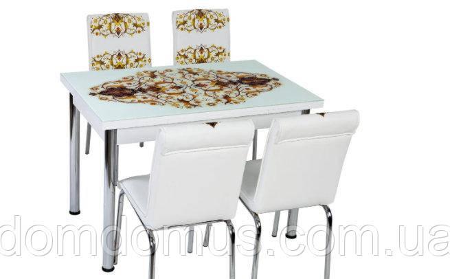 """Комплект кухонних меблів """"Корона Сулимана"""" (стіл ДСП, гартоване скло + 4 стільця) Лідер, Туреччина"""