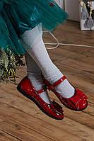 Туфли с бантиком красные кожа размер 26 Mililook