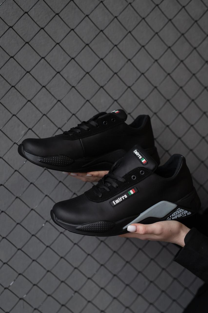 Мужские кроссовки кожаные весна/осень черные Emirro JD