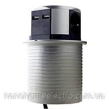 ElectroHouse Компактна меблева розетка (горизонтальна) 2х16А, 2хUSB 2,4 A IP40