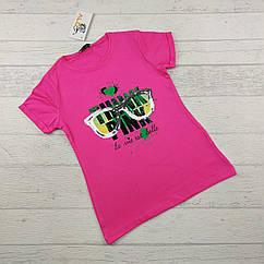 Футболка для девочек 8,9,10,11,12 лет Think ярко-розовая