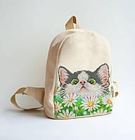 Рюкзак пошитый под вышивку Котик в ромашках