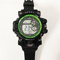 Часы наручные, электронные, с подсветкой. Цвет: зеленая рамка