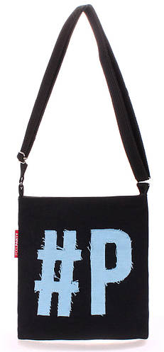 Молодежная коттоновая сумка POOLPARTY Detroit detroit-black-blue черная