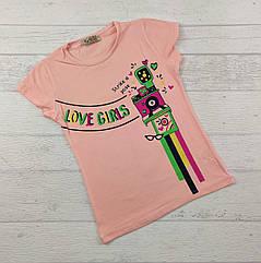 Футболка для девочек 3,4,5,6,7 лет Love girls персик